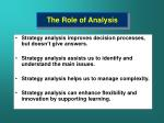 the role of analysis