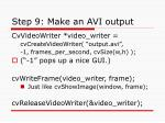 step 9 make an avi output