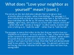 what does love your neighbor as yourself mean cont7