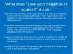 what does love your neighbor as yourself mean