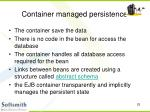 container managed persistence
