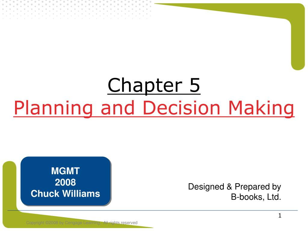 chapter 5 planning and decision making l.