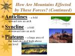 how are mountains effected by these forces continued