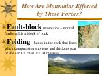 how are mountains effected by these forces