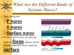 what are the different kinds of seismic waves
