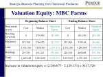 valuation equity mbc farms