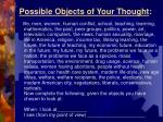 possible objects of your thought