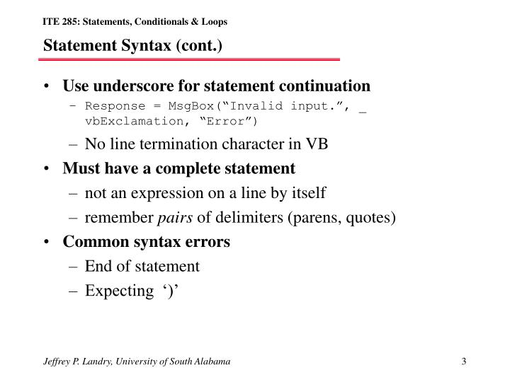 Statement syntax cont