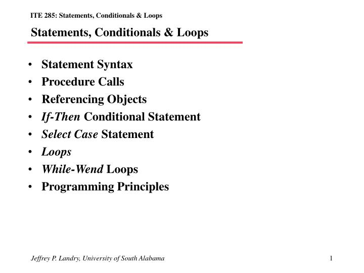 Statements conditionals loops