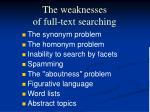the weaknesses of full text searching