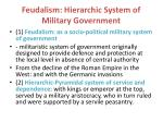 feudalism hierarchic system of military government