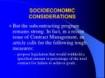socioeconomic considerations28