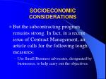 socioeconomic considerations31