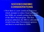 socioeconomic considerations7