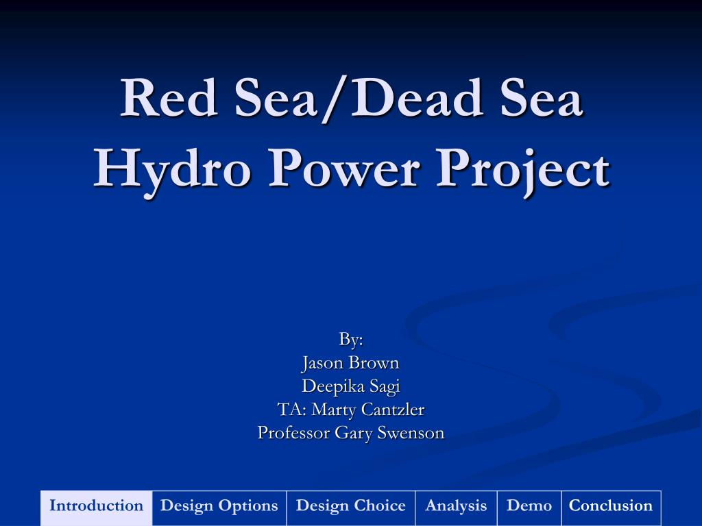 red sea dead sea hydro power project l.