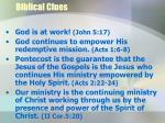biblical clues