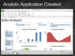 analytic application created
