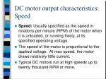 dc motor output characteristics speed