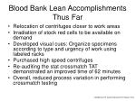 blood bank lean accomplishments thus far