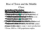 rise of town and the middle class