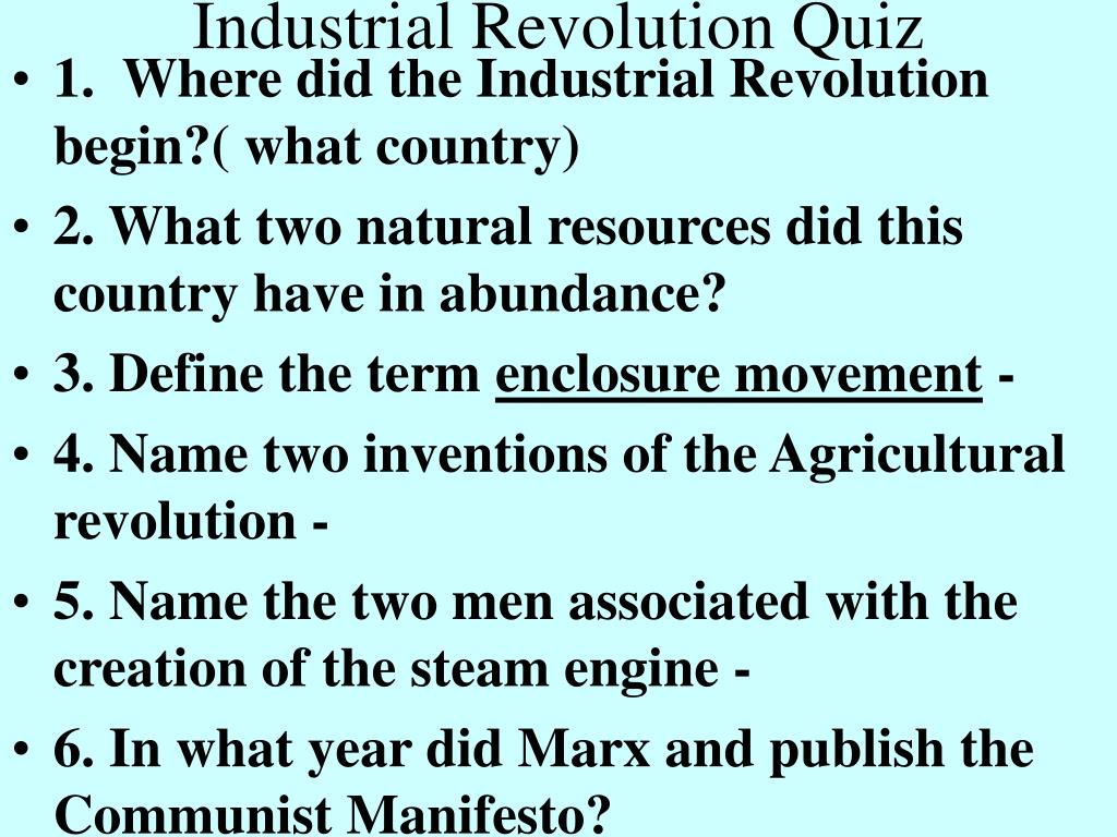 industrial revolution quiz l.