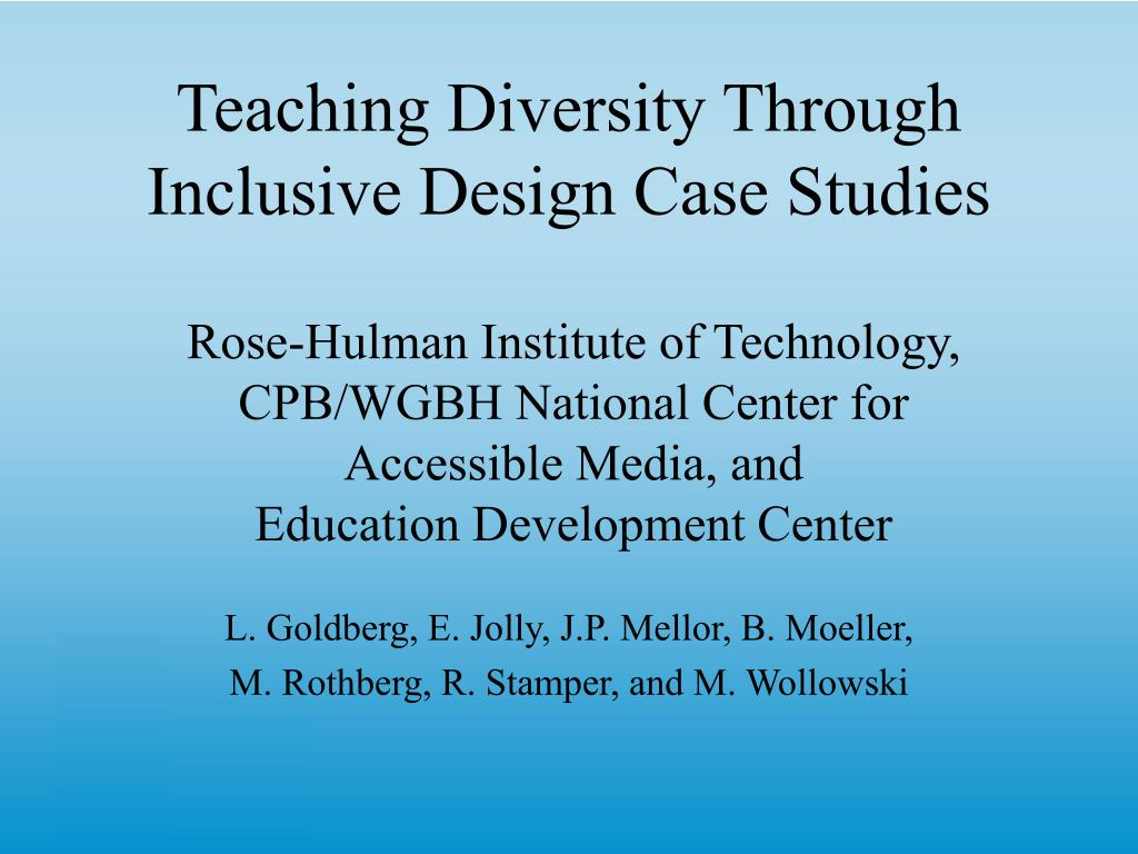 teaching diversity through inclusive design case studies l.
