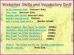 websites skills and vocabulary drill