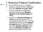 historical federal codification
