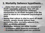 2 mortality salience hypothesis