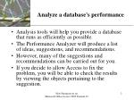 analyze a database s performance