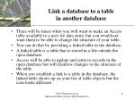 link a database to a table in another database