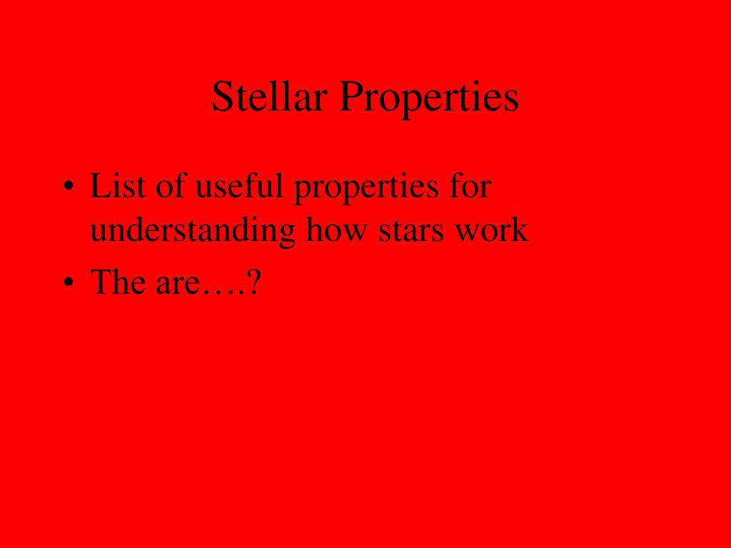 stellar properties l.