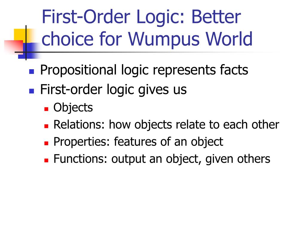 first order logic better choice for wumpus world l.