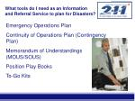 what tools do i need as an information and referral service to plan for disasters
