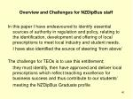 overview and challenges for nzdipbus staff
