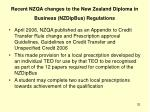 recent nzqa changes to the new zealand diploma in business nzdipbus regulations