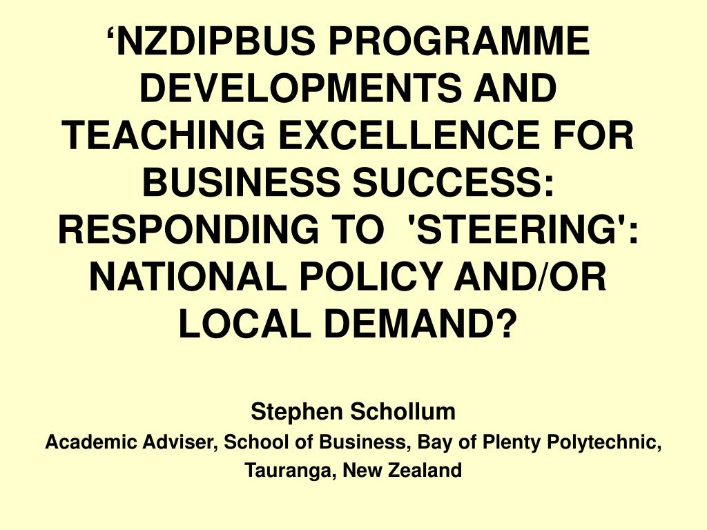 stephen schollum academic adviser school of business bay of plenty polytechnic tauranga new zealand l.
