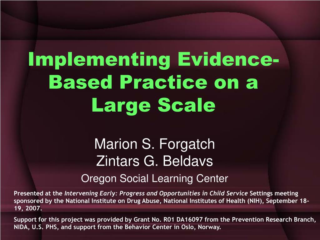 implementing evidence based practice on a large scale l.