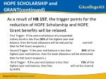 hope scholarship and grant continued