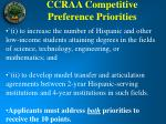 ccraa competitive preference priorities