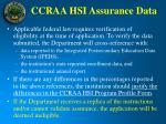 ccraa hsi assurance data