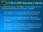 ccraa hsi selection criteria