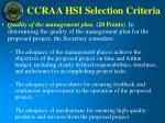 ccraa hsi selection criteria16