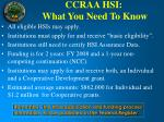 ccraa hsi what you need to know