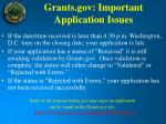 grants gov important application issues