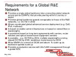 requirements for a global r e network