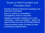 duties of asa president and president elect