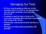 managing our time