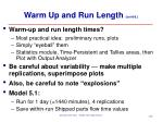 warm up and run length cont d6