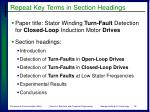 repeat key terms in section headings